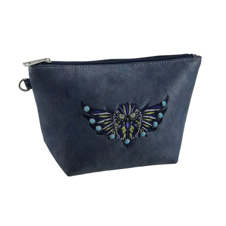 Faux Leather Embroidered Flying Owl Zipper Bag