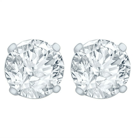 1/2 Carat Diamond Stud Earrings (I1I2 Clarity, IJ Color) 14kt White Gold