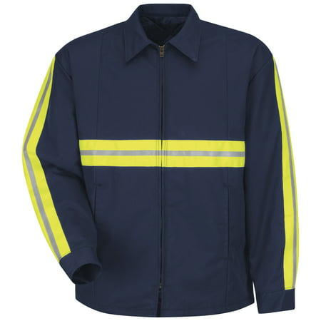 Red Kap Enhanced Visibility Perma-Lined Panel Jacket - Long Sizes JT50ENL Navy 2XLT