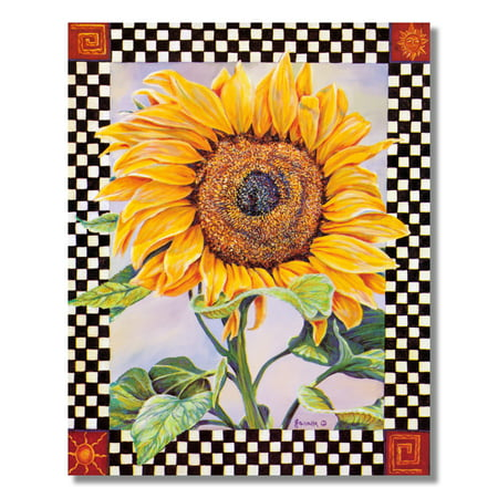 Checkerboard Sunflower Country Wall Picture Art Print ()