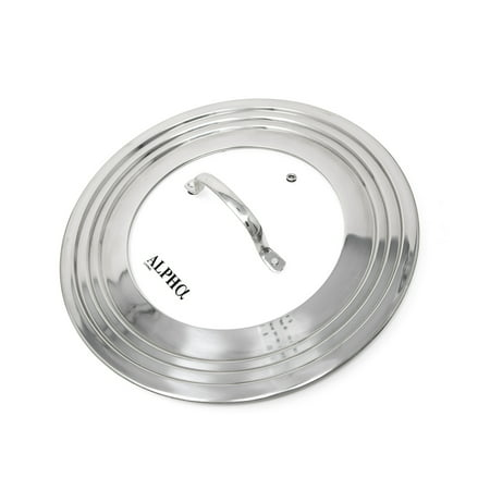 "Alpha Living 60015 7"" to 12"" High Grade Stainless Steel and Glass Universal, Fits All Pots, Replacement Frying Pan Cover and Skillet Lids"