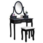 Ktaxon Vanity Makeup Dressing Table Set W/Stool 5 Drawers & Mirror Jewelry Desk Black