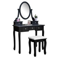 Ktaxon Vanity Makeup Dressing Table Set W/Stool 5 Drawers & Mirror Jewelry Desk Black