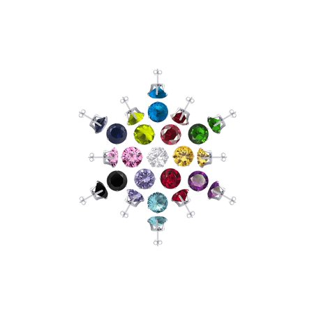 Round Findings (Gem Avenue 925 Sterling Silver 4mm Round Birthstone Stud Earrings Set of 13 Colors with Post Back Findings )
