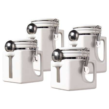 Oggi Corporation 5336.1 White Ceramic EZ Grip Handle Canister Set 4 Count