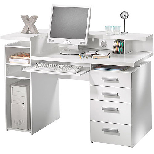 Whitman Office Desk with Hutch, White