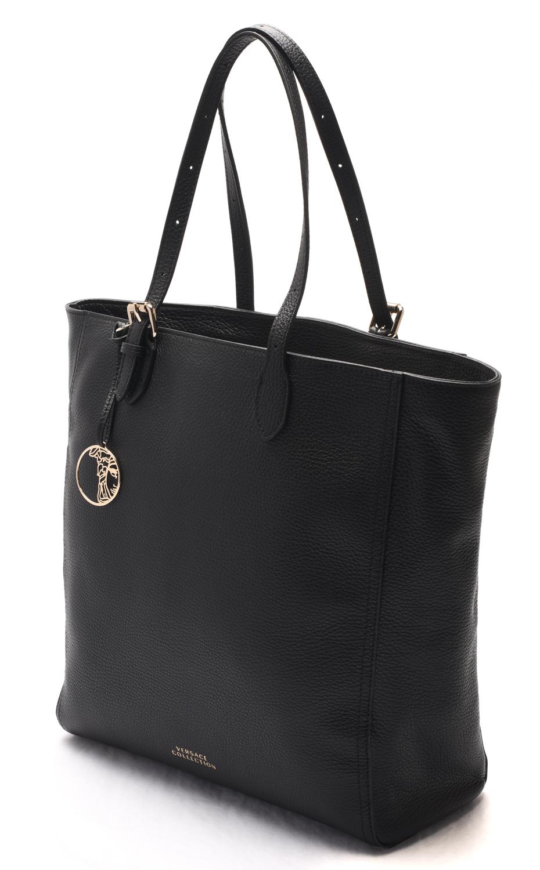 cb5109b79f Versace - Versace Collection Women Pebbled Leather Shopping Handbag Satchel  Black - Walmart.com
