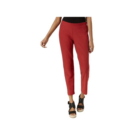 Eileen Fisher Womens Crepe Comfort Waist Ankle Pants Red L