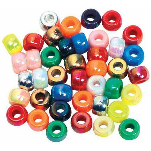Chenille Kraft Pony Bead, Assorted Metallic Colors, Pack of 500