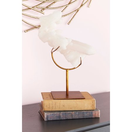 "CosmoLiving Tall Faux White Quartz Crystal Sculpture with Metallic Gold Stand | 9"" x 13"""