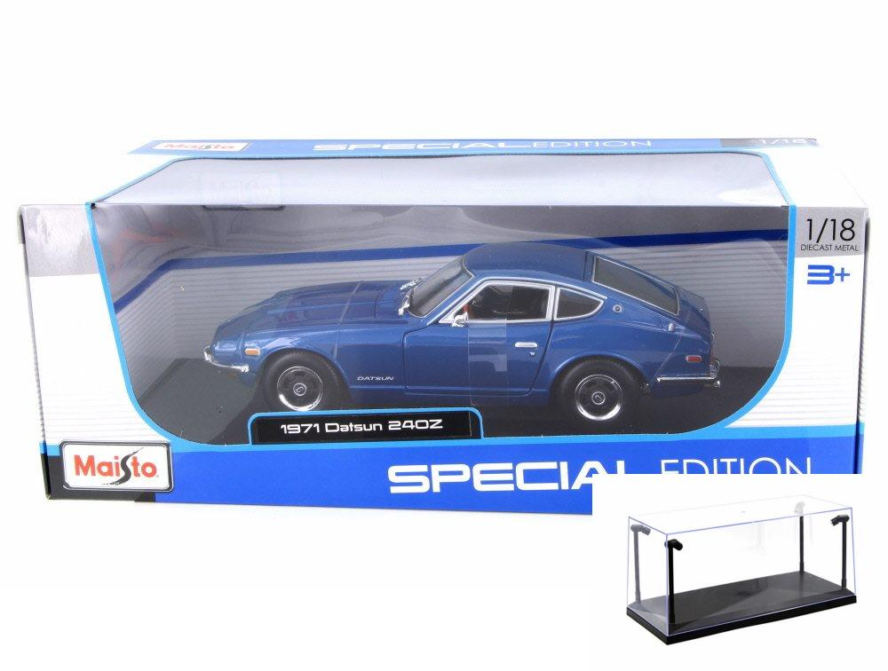 Diecast Car & LED Display Case Package - 1971 Datsun 240Z, Blue - Maisto 31170BL - 1/18 Scale ...