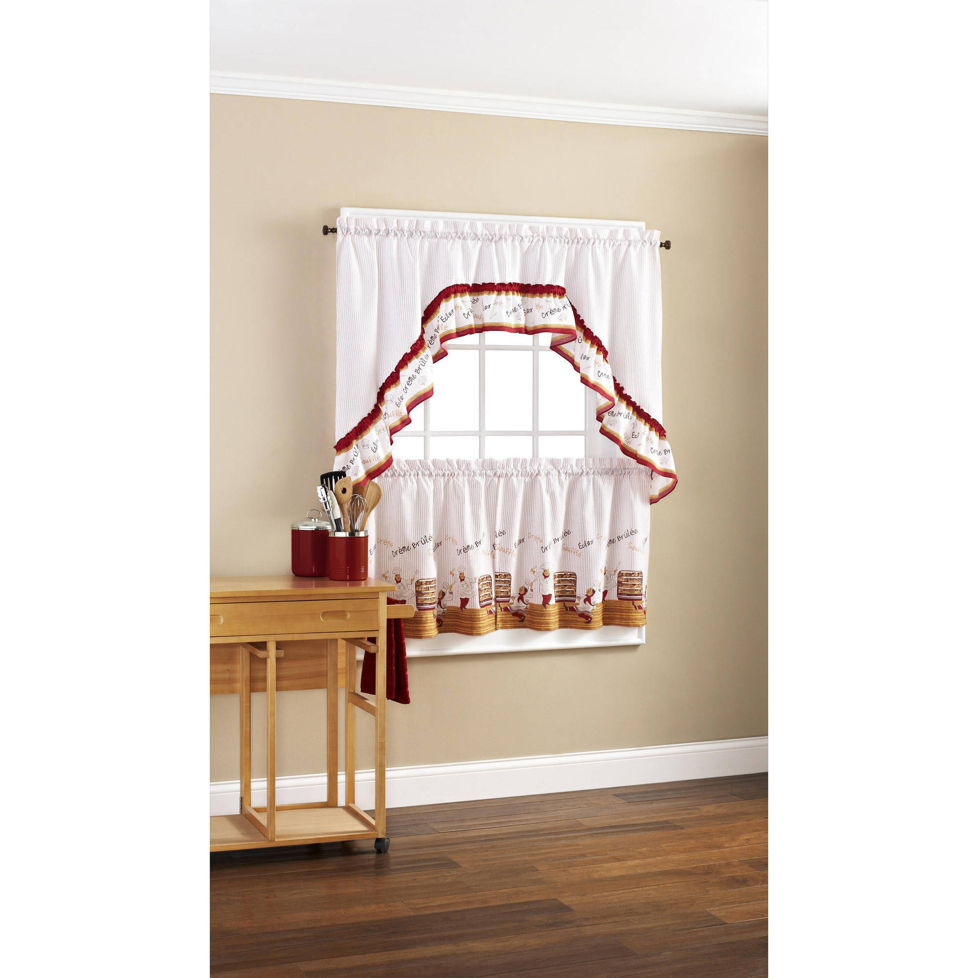 Mainstays Dancing Chefs Tier and Swag Valance Set