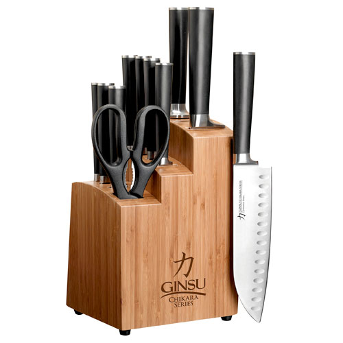 Click here to buy Ginsu Gourmet Chikara Series Forged 12-Piece Japanese Steel Knife Set � Cutlery Set with 420J Stainless Steel... by Ginsu Brands a Scott Fetzer company.