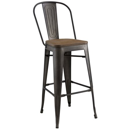 Industrial Country Cottage Farm Beach House Bar Pub and Dining Kitchen Bar Side Stool Chair, Metal Steel Wood, Brown ()