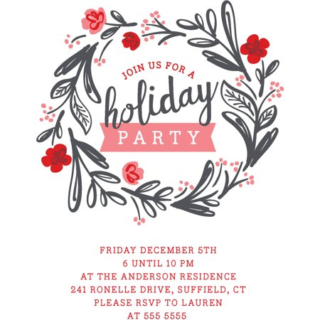 Floral Invite - Floral Wreath - Holiday Invite