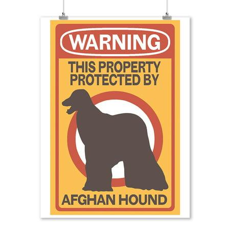 Afghan Hound - Warning - Lantern Press Artwork (9x12 Art Print, Wall Decor Travel Poster)