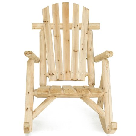 GHP 250-Lbs Capacity Natural Fir Wood Country Style Slats Single Porch Rocking Chair