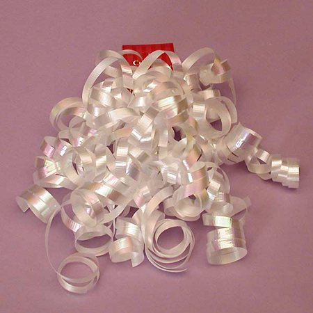 White Decorative 5 inch Crimped Curly Ribbon Gift Bows, 24 pack - Curly Ribbon