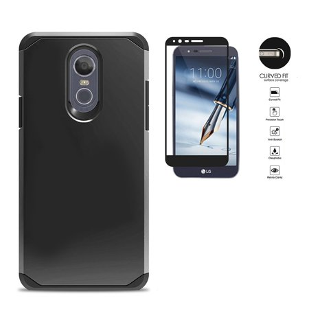 Black Hard Case Screen (Phone Case for LG Stylo 4, LG Stylus 4, Hybrid Shockproof Slim Hard Cover Protective Case + Tempered Glass Screen Protector (Black) )