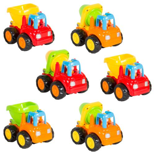 (Set of 6) Push and Go Friction Powered Car Toys, Cement Mixers, Dump trucks
