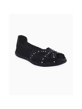 Heal USA Ellen-blk-seqacc-9 Ellen Women Peep Toe Flats, Black - Size 9