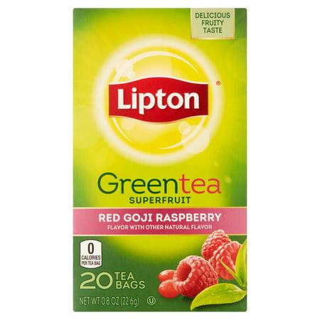 Lipton Sacs rouge framboise Goji thé vert, 20 ct
