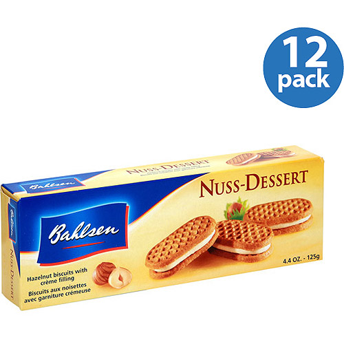 ***Discontinued by Kehe 09_01***Bahlsen Nuss-Dessert Hazelnut Biscuits with Creme Filling, 4.4 oz, (Pack of 12)