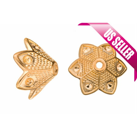 Spade Petal Gold-Finished Bead Cone Rhinestones 20x10mm Fits 6pcs ss10 (Personalized Petal Cone)