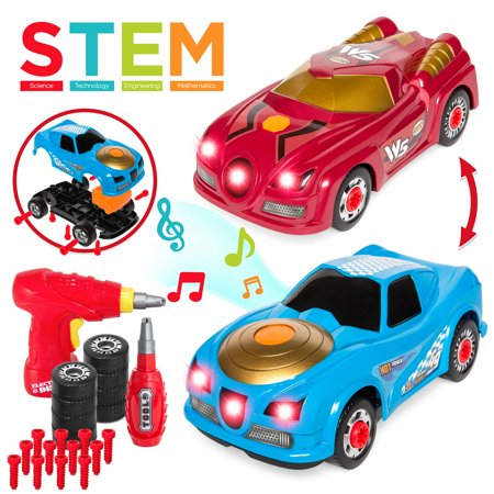 Best Choice Products 26-Piece 2-in-1 Kids Interactive Educational STEM Modification Take Apart Car Racer Toys w/ Sounds, Lights, 2 Car Bodies, Electric Drill Tool, Screwdriver -