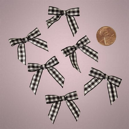 Tiny Dog Ribbon (Black and White Pre-Tied Tiny Gingham Checkered Bows - 1 3/16in. x 1 1/4in. - 25 Pack)