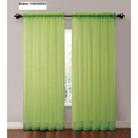 One (1) Striped sheer window curtain panel : 55