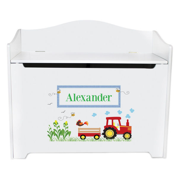 Personalized Red Tractor Toy Box Bench Custom