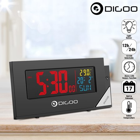 Date Display (Digoo Digital Alarm Clock Calendar Indoor Thermometer USB Charging with Home Decor Snooze Function Light Sensor Automatic Dimming Colorful Back light Time Date Week Temperature Display )