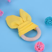 Mgaxyff Baby Infant Natural Wooden Teether Bunny Teething Ring Adorable Rabbit Ears Toy,Baby Teether, Bunny Teether