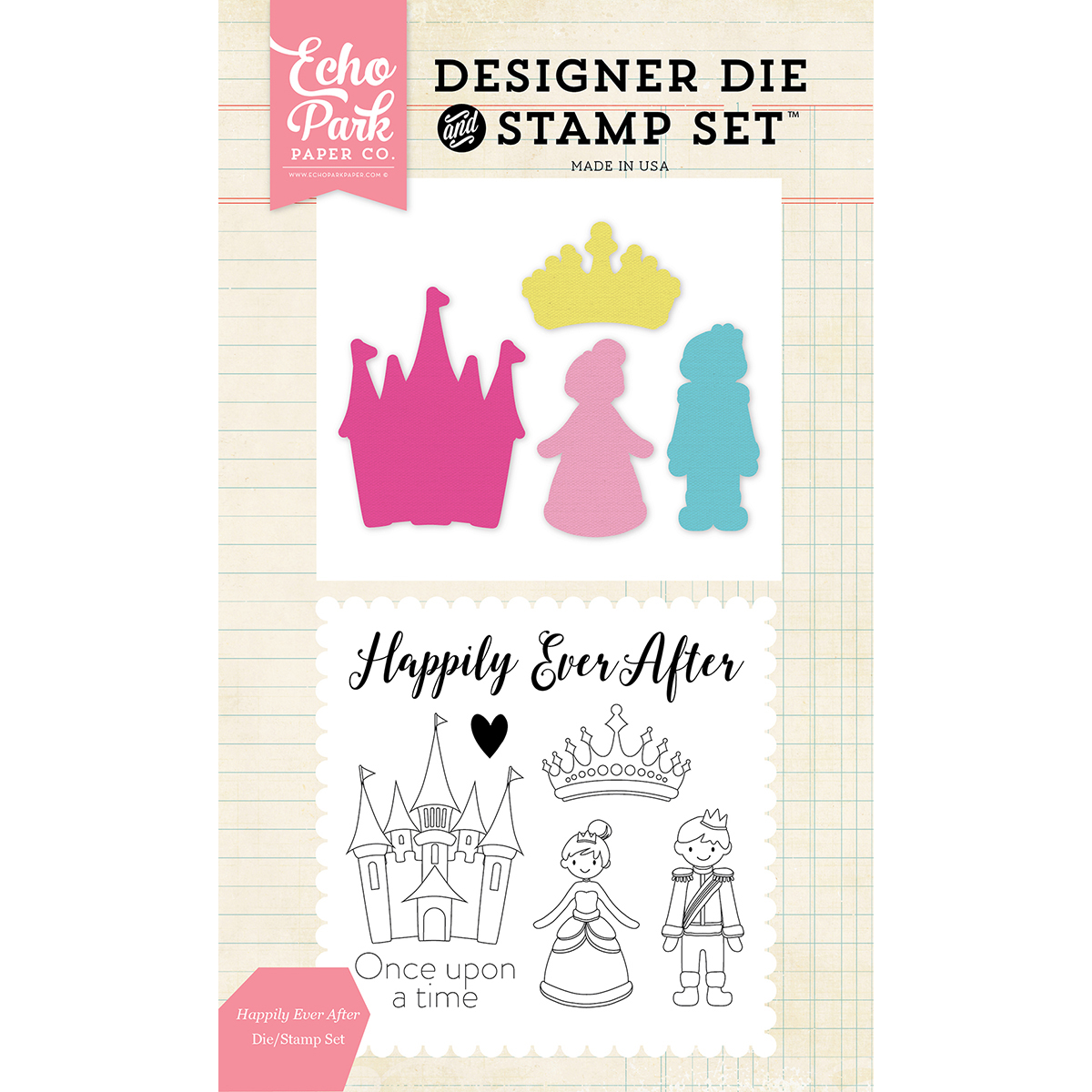 Echo Park Die & Stamp Combo Set-Happily Ever After