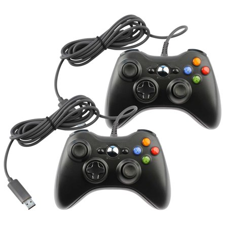 Lot of 2 Replacement Gaming Joy Pad Controller For Microsoft Xbox 360 Mac PC Computer Game Console Systems  Wired - BLACK (360 Controller Pc Adapter)