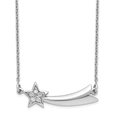 925 Sterling Silver Cubic Zirconia Cz Shooting Star 2 Inch Extension Chain Necklace Pendant Charm Celestial Bar Fine Jewelry For Women Gifts For Her - image 5 de 5