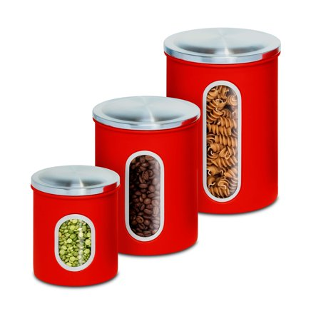 Ivory Canister Set (Mainstays 3Pk Metal Storage Canisters, Red )