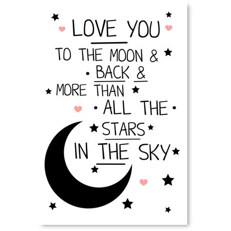 Awkward Styles Cute Quotes Baby Room Wall Art Newborn Baby Poster Love You  To The Moon and Back More Than All The Stars In The Sky Canvas Canvas ...