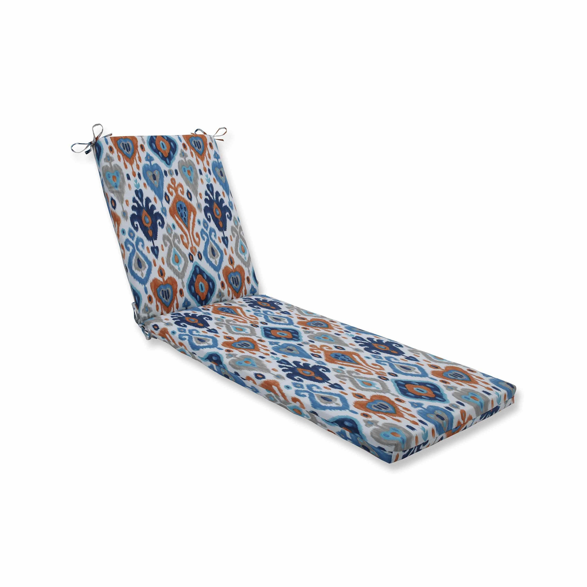 Vibrantly Colored Ikat Pattern Outdoor Patio Chaise Lounge Cushion 80""