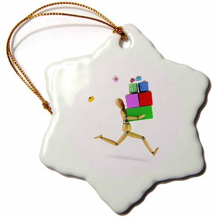 3dRose Wooden mannequin rushing with a bunch of gifts artists figure funny presents shopping running - Snowflake Ornament, 3-inch
