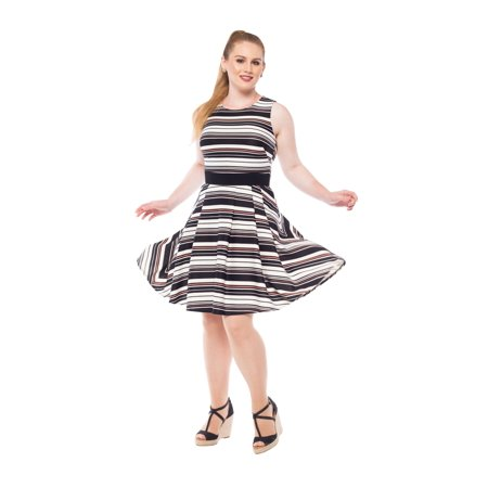 Julian Taylor Womens Sleeveless Stripe Fit and Flare Dress with Belt](Ann Taylor Clearance Dresses)