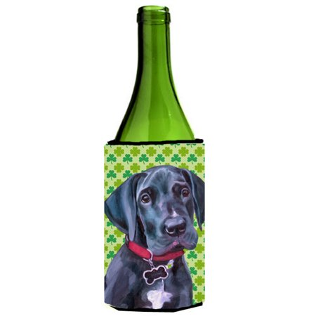 Black Great Dane Puppy St. Patrick's Day Shamrock Wine Bottle Beverage Insulator Hugger LH9572LITERK
