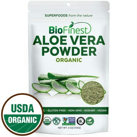 Biofinest Aloe Vera Powder (Aloe barbadenis) - 100% Pure Antioxidants Superfood - USDA Certified Organic Kosher Vegan Raw Non-GMO- Skin Health Hair Care - For Smoothie Beverage (4 oz Resealable (Side Effects Of Eating Raw Aloe Vera)