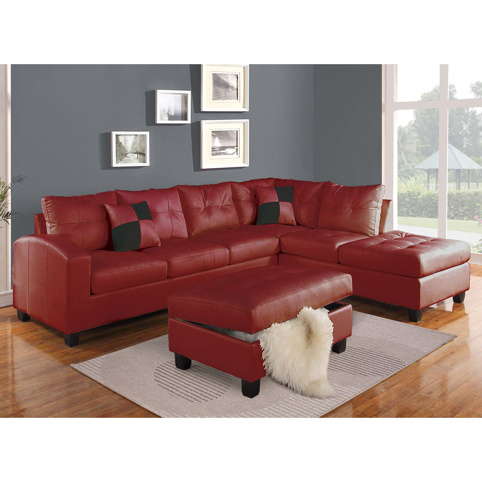 Acme Furniture Kiva Sectional Sofa with Reversible Pillows
