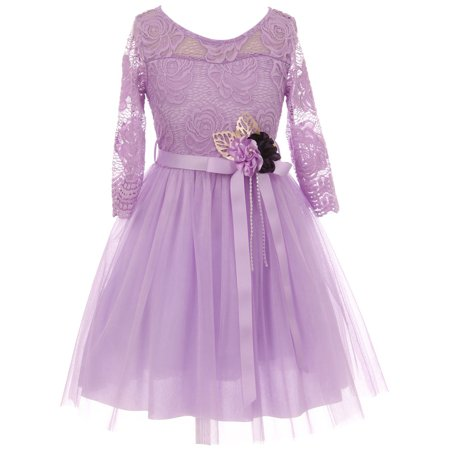 Big Girls' Long Sleeve Girls Dress Floral Lace Roses Corsage Easter Flower Girl Dress Lavender 14 (J20KS98)