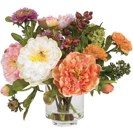 Nearly Natural Peony Silk - Peony Floral Arrangement