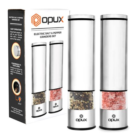 OPUX Battery Operated Salt and Pepper Grinder | Automatic Pepper Mill, Electric Salt Shaker with LED Light and Bottom Cover | Corrosion Resistant Stainless Steel, Sleek Modern Design ()