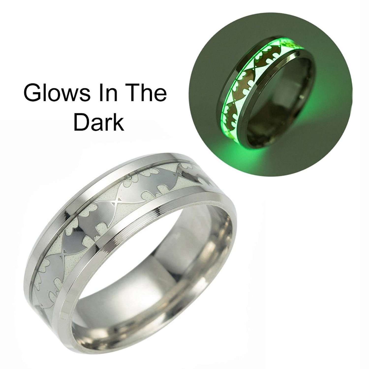 Ginger Lyne Collection Glow in Dark Bats Stainless Steel Comfort Fit Band Ring