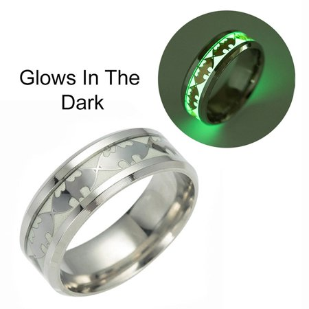 Glow in Dark Bats Stainless Steel Comfort Fit Band Ring - Ginger Lyne Collection - Glow In The Dark Rings